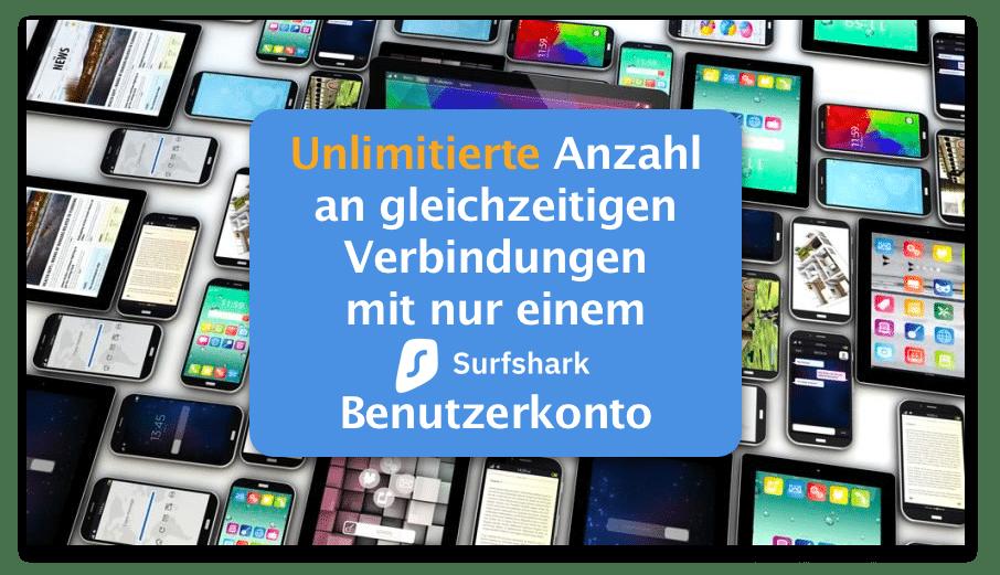 Surfshark VPN - Unbegrenzte Verbindungsanzahl pro Benutzer